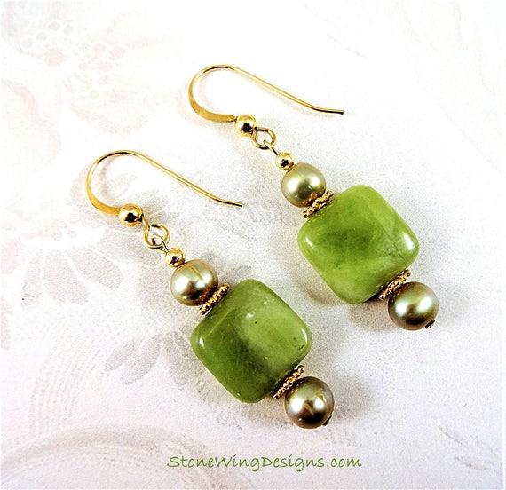 Green Garnet and Freshwater Pearl Earrings