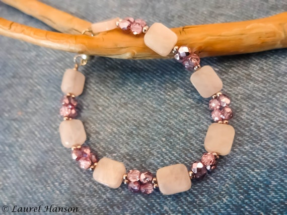 Rose Quartz and Czech Firepolish Bracelet, Pink Gemstone Bracelet, Gemstone Jewelry, Pink Stone Beaded Bracelet