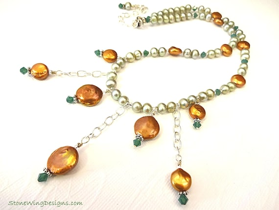 Copper and Green Pearl Bib Necklace