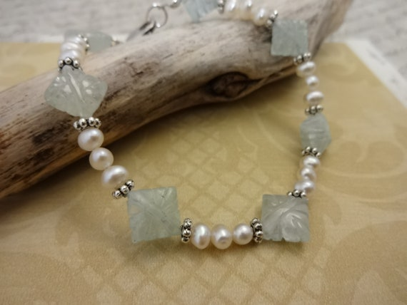 Aquamarine and Freshwater Pearl Bracelet, Light Blue Gemstone, March Birthstone, Gift for Her