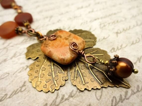 Carnelian, Fossil Coral and Antique Brass Leaf Necklace, Matte Carnelian Coin Necklace, Orange Gemstone Necklace