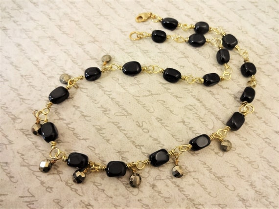 Black Onyx and Pyrite Necklace, Black Gemstone Necklace, Black and Gold Necklace, Gift for Her