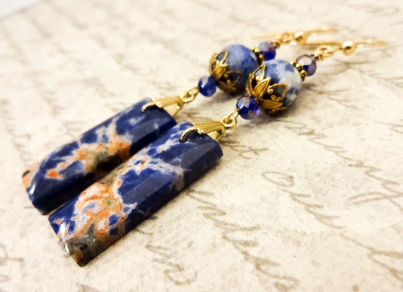 Natural Orange Sodalite Gemstone Earrings with 14k Gold Fill Ear Wires, Gift for Mothers Day
