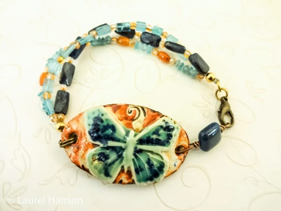Butterfly Bracelet, Ceramic Butterfly in Aqua Blues and Oranges, Boho Style Multi Strand Bracelet, One of a Kind Gift for Mom