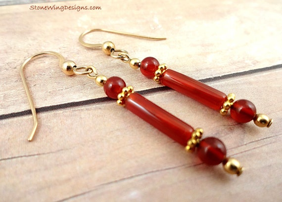 Long and Skinny Orange Carnelian Earrings