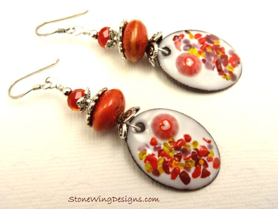 Red and White Artisan Enamel Earrings