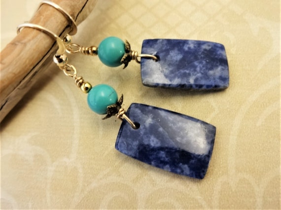 Sodalite and Turquoise Earrings, Blue Gemstone Earrings, Blue Stone Jewelry, Natural Gemstones, Gift for Her