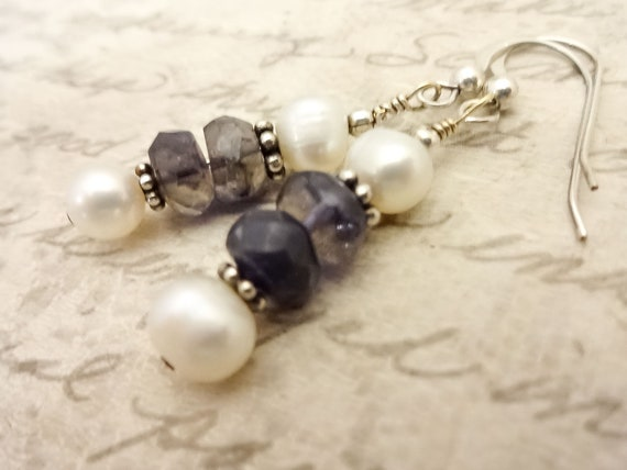 Handmade Iolite Gemstone and White Freshwater Pearl Earrings with Sterling Silver Ear Wires