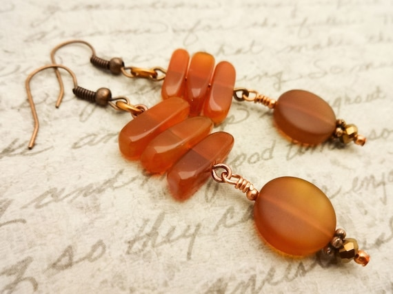 Carnelian Earrings, Carnelian and Copper Earrings, Carnelian Jewelry