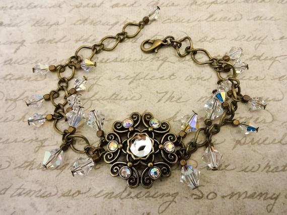 Swarovski Crystal and Antique Brass Bracelet, Crystal Jewelry, Victorian Style Jewelry, Vintage Look Bracelet