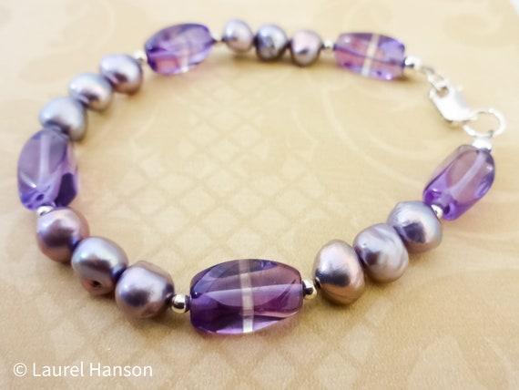 Amethyst and Lavender Pearls Bracelet, Purple Gemstone Bracelet, Gemstone Jewelry, February Birthstone, Birthstone Jewelry
