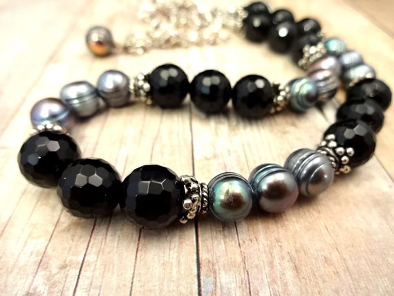 Black Onyx Necklace, Pearl and Gemstone, Black and Gray, Black Gemstone, Peacock Pearls, Gemstone Necklace, Sterling Silver and Black Onyx