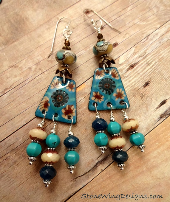 Boho Earrings, Turquoise Earrings, Artisan Enamel, Rustic Earrings, Artisan Jewelry, Blue and Tan, Bohemian Earrings, Artisan Made OOAK