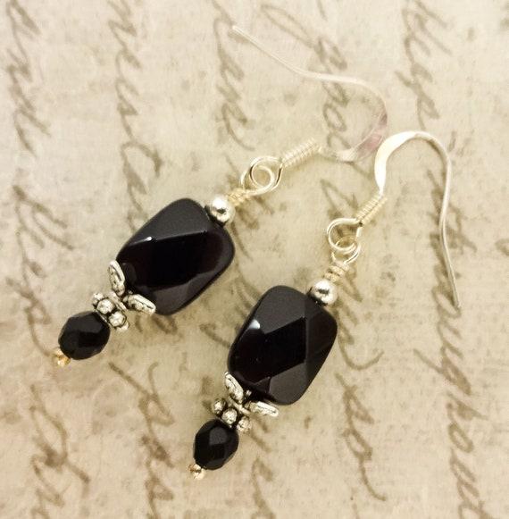 Black Onyx Faceted Rectangle Gemstone Earrings