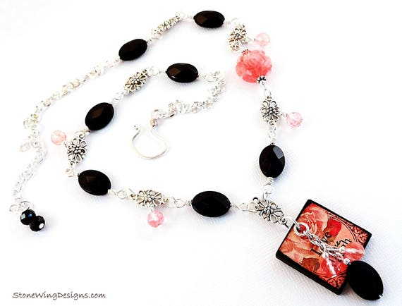 Live Laugh Love, Black and Silver, Black Onyx Necklace, Cherry Quartz, Black and Peach, Roses Necklace, Gift for Wife, Gift for Mom