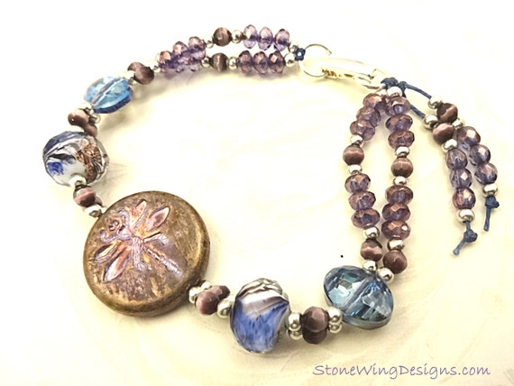 Purple Dragonfly and Czech Glass Boho Bracelet, Lavender and Blue Glass Bracelet, Unique One of a Kind Bracelet