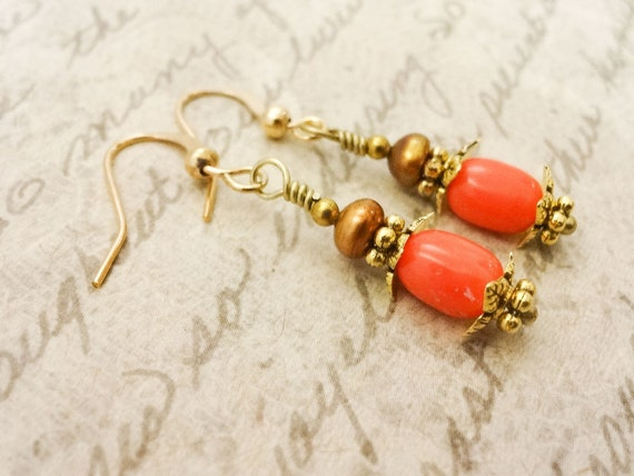 Peachy Coral and Gold Pearl Earrings, Short Dangle Earrings, Orange Gemstone Jewelry, Gift for wife, Gift for Mom