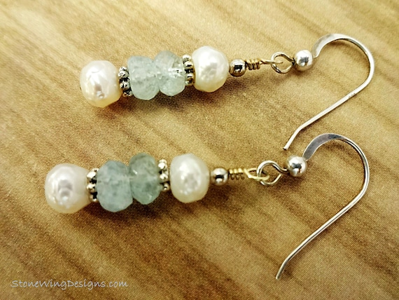 Aquamarine and Faceted Freshwater Pearl Earrings