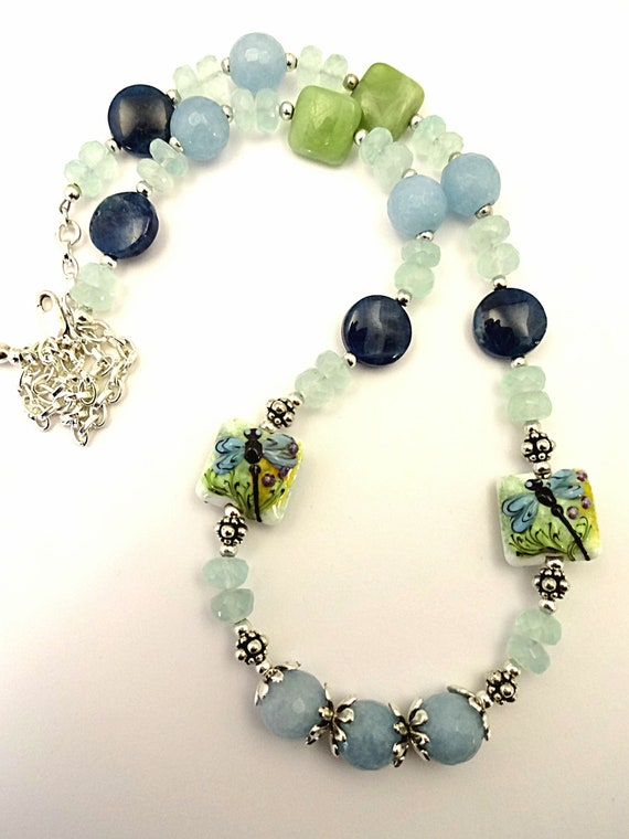 Aquamarine Necklace Dragonfly Jewelry Angelite Apatite Pale Blue Gemstone Necklace Aqua Necklace Beach Blue Necklace March Birthstone