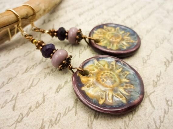 Purple and Gold Earrings, Artisan Ceramic Earrings, Bohemian Earrings, Handmade Earrings, Long Earrings, Unique Earrings