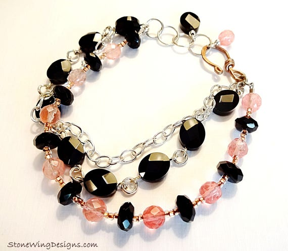 MultiStrand Bracelet, Black Onyx Bracelet, Cherry Quartz, Black and Pink, Gemstone Bracelet, Gift for Wife, Black Stone Jewelry