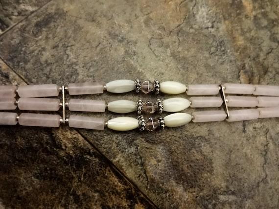 Rose Quartz, Mother of Pearl and Czech Glass Bracelet, Pink Gemstone Bracelet, Gemstone Jewelry, Pink Stone Beaded Bracelet
