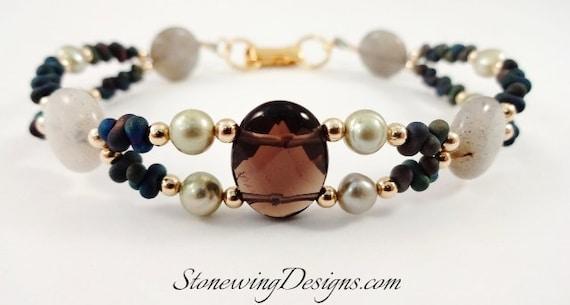 Smokey Quartz, Labradorite and Pearl Bracelet, Gemstone Bracelet, Brown Gray Black and Green Bracelet, Gift for Wife, Gift for Mom