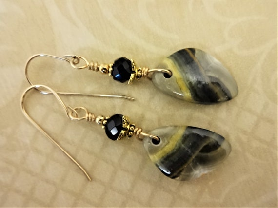 Bumble Bee Jasper Stone Earrings, Designer Stones, Black Gray and Yellow Earrings, Bumble Bee Pattern, Rustic Boho Earrings