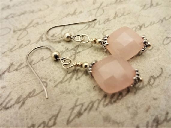 Rose Quartz Gemstone Earrings, Pink Gemstone Earrings, Rose Quartz and Sterling Silver Jewelry, Gift for Her