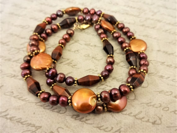 Red Tigers Eye and Pearl Necklace, Brown Gemstone Necklace, Stone and Pearl Necklace, Gift for Her