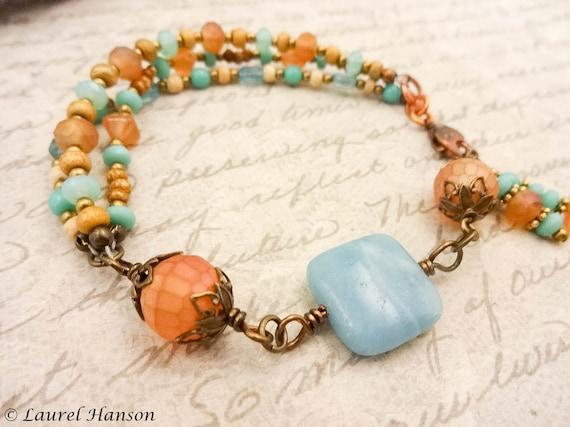 Boho Rustic Bracelet Amazonite Bracelet Aqua Gemstone Bracelet Boho Bracelet Rustic Stone Jewelry Blue Bracelet Orange Bracelet Casual Style