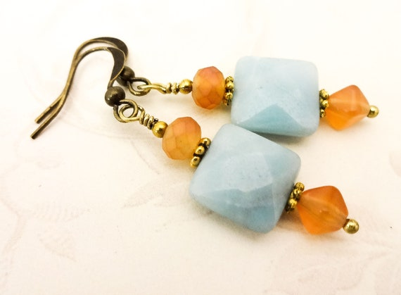 Amazonite Squares and Orange Glass Earrings, Aqua Gemstone Earrings for Everyday, Beach Inspired Jewelry, Gift for Wife