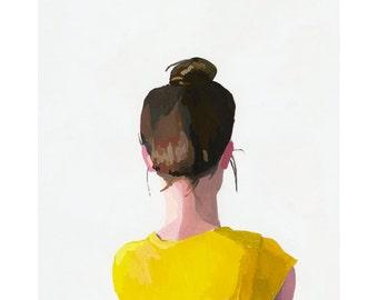 "5x7"" hair art - bun print - ""Top Knot 12"""