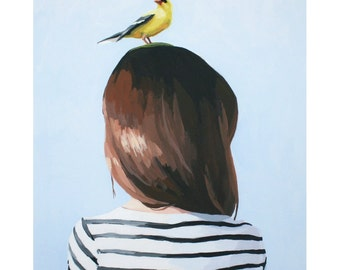 "8x10"" hair art - ""Bird Head 8"""