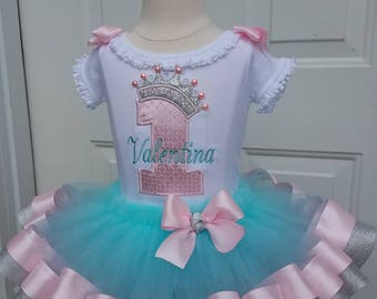 aqua, pink, silver princess crown #1 with ribbon trim tutu, crown hairpiece, girls first birthday