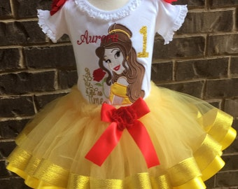 eab54d6ab Belle beauty and the beast birthday outfit, girls tutu set, girls birthday  belle set, as tale as old as time, belle applique