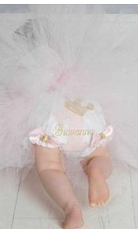 Baby girls first birthday diaper cover bloomer #1 applique accented with bows and personalized