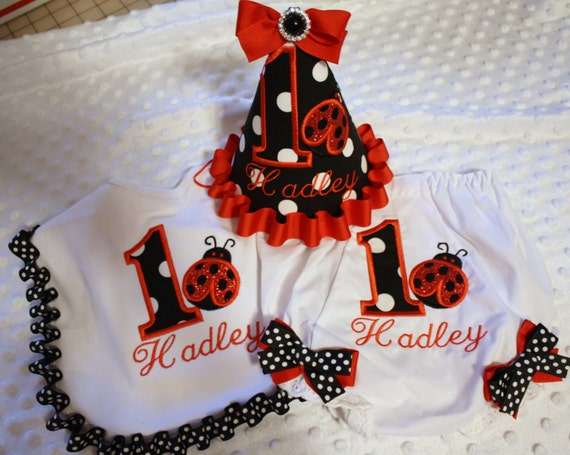 Girls First Birthday Smash Cake Ladybug Set In Black Dot And