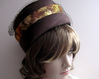 Gold & Brown Pillbox Hat, Vintage, Mint Condition, Satin, Birdcage netting, 1960s Vintage, Retro, Rare Treasure,