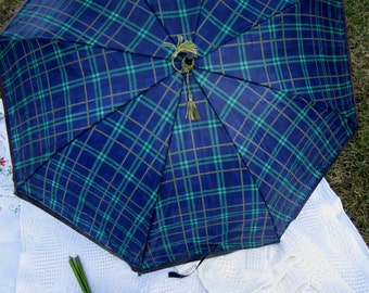 Navy Green Plaid Parasol, English Plaid Parasol, Brown Leather Edge, Golden Green Tassels, English Brolly, Plaid Umbrella,