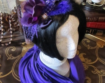 Purple Rose Fascinator, Bright Blue & Electric Blue feathers, Fascinators, Dance Head Band, Royal Ascot Fascinator, Second Line, Head piece
