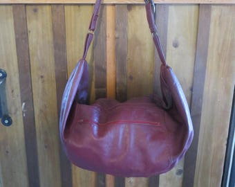 Vintage Slouchy Leather Hobo Bag - Burgundy Large Leather Hobo