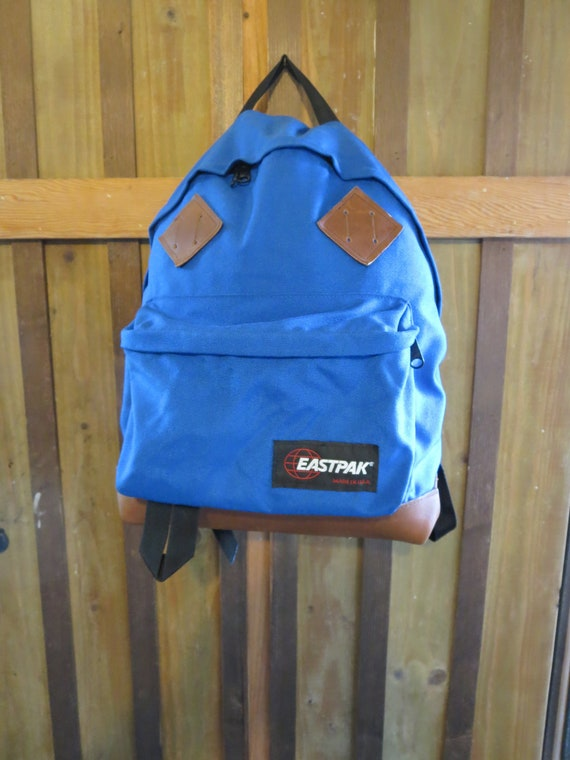 EASTPAK Vintage Leather Bottom Backpack with Padded Back