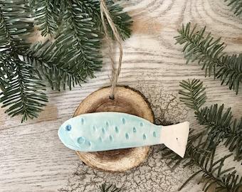 Fish Ornament - Ceramic and Wood