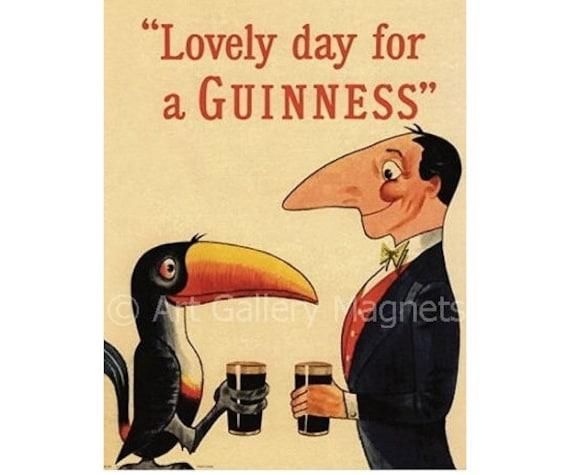 GUINNESS Toucan & Man Beer Vintage Print Art Magnet