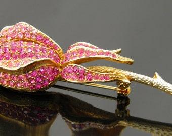 Vintage Rare Corocraft Pink Rhinestone Rosebud Brooch