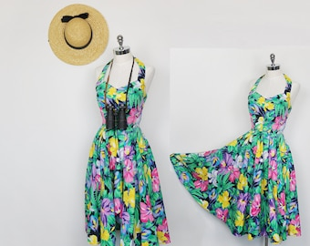 80s does 50s - Tropical Floral Pinup Style Halter Dress by Rhonda Harness in size Small // Hawaiian, Kitschy, Sassy, Traveler, Party Dress