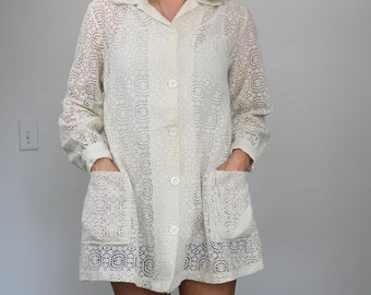 60s - 70s sheer lace top / tunic / mini dress, festival wear, bohemian, hippie chic, victorian, goth, in size Small, Medium