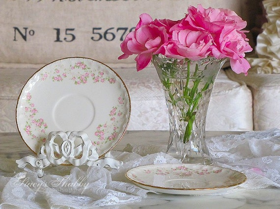 Prettiest Pope Gosser Pink Roses Saucers Shabby Chic Gold Etsy