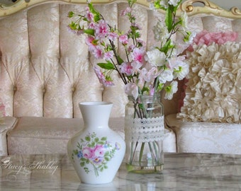 Beautiful Vintage White Glass Flower VASE With PINK ROSES, Shabby Chic, Cottage Charm, Hand Painted
